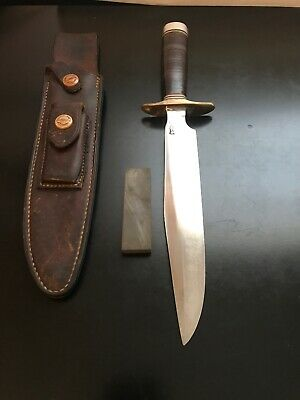 Randall Knife 1-8 Fighter-Stacked Leather-Brown Button Sheath-1970's Vietnam Era