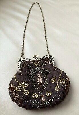 Victorian Antique Looking Micro Beaded Ladies Purse On A Chain