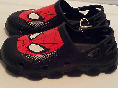 BOYS SIZE 7-1 SPIDERMAN MARVEL BLACK RED BOOTS RIPTAPE STRAP TRAINERS CRAWL