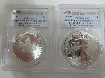 RCM 2019 Pride of Two Nation PCGS PR70 ENHANCED REVERSE EAGLE & MAPLE LEAF MOD.