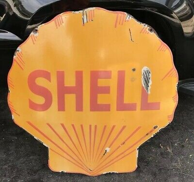 VINTAGE SHELL GASOLINE PORCELAIN GAS SERVICE STATION SIGN Heavy One sided