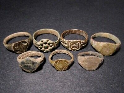 LOT of 7 pcs. ANCIENT ROMAN, BYZANTINE AND MEDIEVAL FINGER RINGS+++