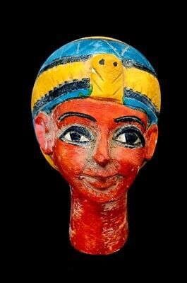 Rare fantastic Faience Egyptian Ancient Antique Carved Egypt art bust queen nice