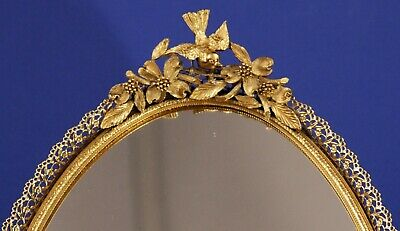 Vintage Matson Ormolu 24K Gold Plated Vanity Wall Mirror Tray - Birds & Dogwood