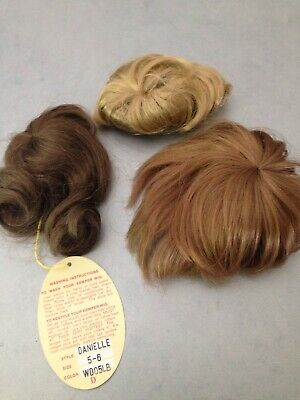 3 DOLL WIG LOT Blonde, Brown, Auburn  Kemper Modacrylic, perfect for toddlers!
