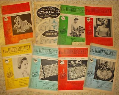 22 vintage Workbasket magazine 1951-1959 knit crochet sweater afghan patterns