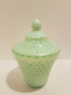 Beautiful FENTON Lime Green Opalescent Hobnail Glass Candy Dish Covered