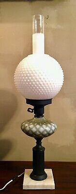 Vintage Fenton Globe Round Beaded Green Font Glass Lamp Shade Marble Base 27""