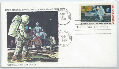 US FDC C76 First Man on Moon 1969 Dual cancel NASA Space Center Stamp Club