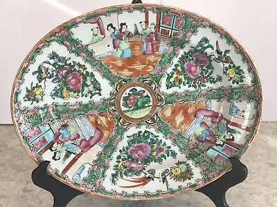 """Antique Rose Medallion 19th Century Oval Platter 14 1/2"""" X 11 1/2"""" Export China"""