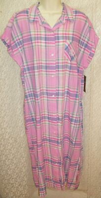 Ralph Lauren X-Large XL Cotton Night/Sleep Shirt Short Sleeve Pink/Lilac Plaid