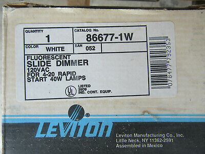 Leviton 86677-1W Fluorescent Slide Dimmer 120V White NEW!!! Free Shipping