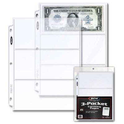 BCW 20 Archival 3 Pocket Pages For 3.5X8 Currency Notes Fits 3 Ring Binder/Album
