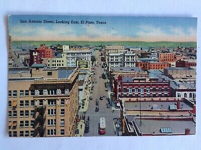 El Paso TX~1945~San Antonio Street looking east~streetcar~trolley~Texas~linen