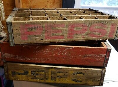 1 Antique Wooden Red Coke Coca Cola and 1 Yellow and 1 Red Pepsi Bottle Crates