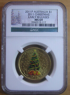 2011 $1 'Christmas Tree' MS69 Colored NGC Slabbed Coin:Perth MInt Release