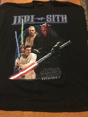 XL Vintage Star Wars Shirt Jedi Vs Sith