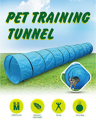 NEW LONG Pet Dog Agility Training Exercise Tunnel play Chute 5.5M Carry Bag