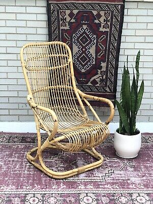 Vintage Rattan Chair in the Style of Franco Albini