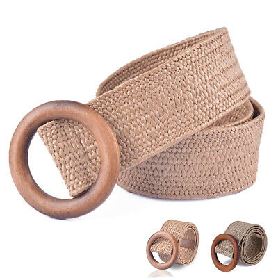 Round Wooden Buckle Elastic Straw Belt Women Casual Braided Wide Woven Waistband