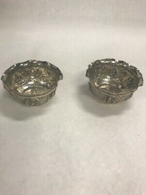 Vintage pair 2  Silver over copper  individual nut cup ornate 3 by 1.5 inch