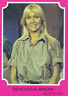 1976 Scanlens Gum Card:  ABBA  (Pink Version) .....  #27  REHEARSAL  BREAK