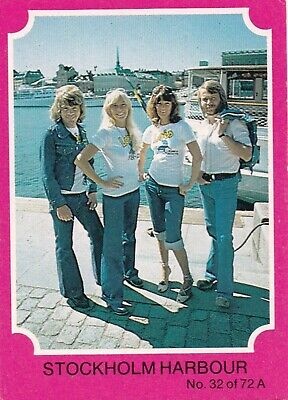 1976 Scanlens Gum Card:  ABBA  (Pink Version) .....  #32  STOCKHOLM  HARBOUR