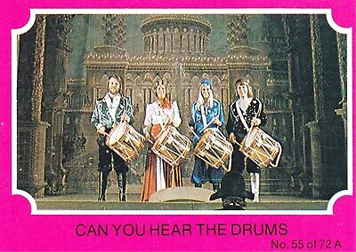 1976 Scanlens Gum Card:  ABBA  (Pink Version) .....  #55  CAN YOU HEAR THE DRUMS