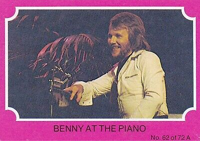 1976 Scanlens Gum Card:  ABBA  (Pink Version) .....  #62  BENNY  AT  THE  PIANO
