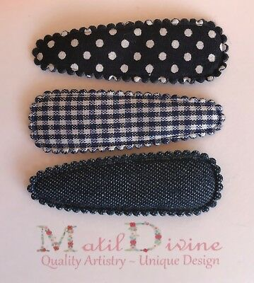 Baby Girls Non Slip Hair Clips ~ 4.7 cm Snap Clips ~ Navy Blue Denim ~ Set of 3
