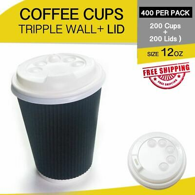 200p/c Disposable Coffee Cups+Lids 12 oz Triple Wall Take Away Bulk