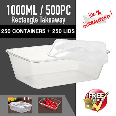 Disposable Rectangular Plastic Containers 1000ML 250pc+250pc Lids-Sydney Only