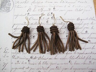 "4 Vintage/Antique French Bronze  Metallic Bullion Tiny 1 1/2"" Tassel Fringe"