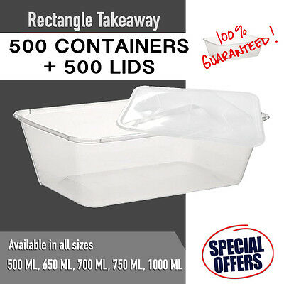 Disposable Rectangular Plastic Containers + Lids 1000 PC Takeaway Container