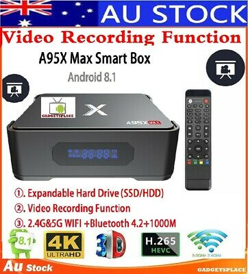 World 1st Recorder Media TV Box Kodi Android Pro A95X MAX 4GB + 64GB Smart HD 4K