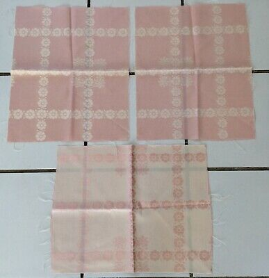 "Vintage Jacquard Damask Silk Woven 3 Pieces Remnants Brocade 17""x14"" Pink/White"