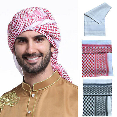 Mens Muslim Full Cover Caps Turban Scarves Islamic Keffiyeh Arab Scarf Headwear