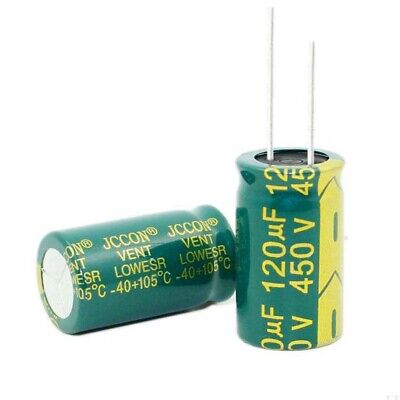 120uF 450V High Frequency Radial Electrolytic Capacitor LOW ESR 105°C 18x31mm