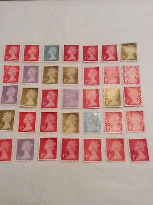 GB - 25 x 1st Class stamps Unfranked Stamps Off Paper Partial gum