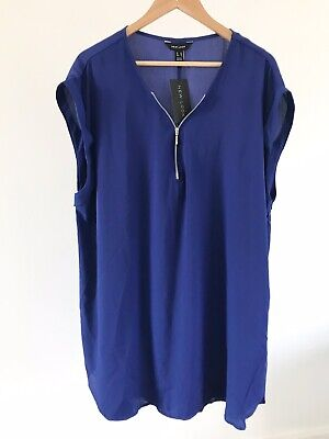 New Look BNWT Cobalt Blue Rolled Sleeveless 1/2 Zip Tunic Tank Top Plus Size 22