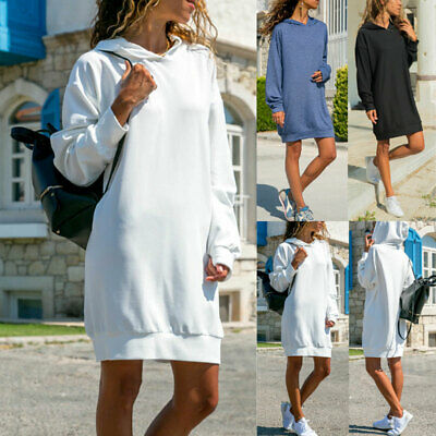 Womens Autumn Long Hooded Hoodie Ladies Casual Long Sleeve Pullover Jumper Dress