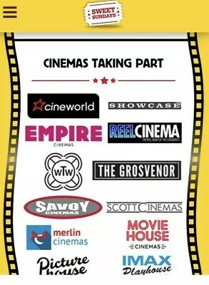 1 x 2D film Cinema Ticket - SUNDAY ONLY - Sweet Sundays Cineworld, Showcase etc