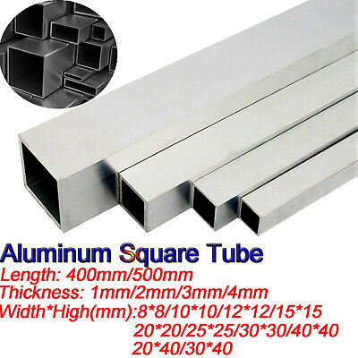 1-3mm Thick Aluminium Alloy Square Tube Box Section Hollows Pipe 400/500mm long