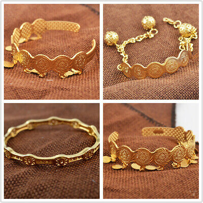 Unisex 18K Yellow Gold Filled Coin Ball Bracelet Opennig Tassel Wedding Jewelry
