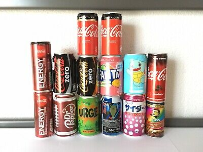 Lote 14 Latas Raras Vacias coca cola fanta pokemon dr pepper cans can lot