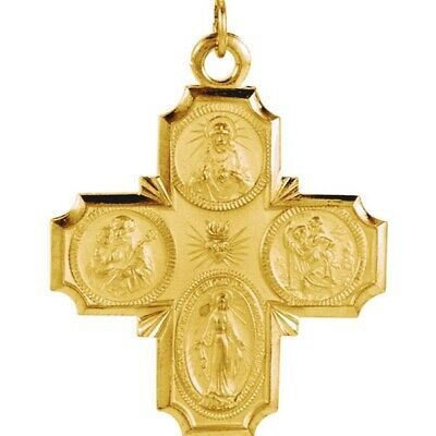 14K Solid Yellow Gold Large 30mm x 29mm Catholic Four-Way Cross Medal