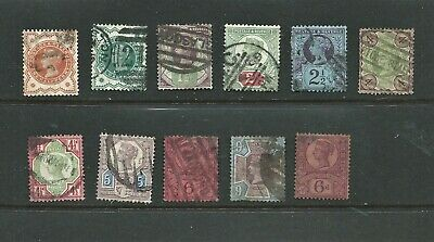 """Eleven Used Queen Victoria """"Jubilee"""" Issue Stamps 1887-1900"""