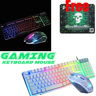 RAINBOW LED GAMING Keyboard and Mouse Set Multi-Colored Changing