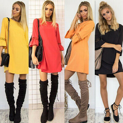 Summer Ladies Fashion Casual Loose Round Neck Short Sleeve Mini Dress Hot