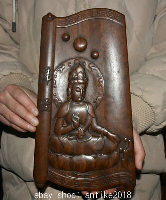 """11.6"""" Rare Old Chinese Boxwood Carving Dynasty Palace Guanyin Goddess Statue"""